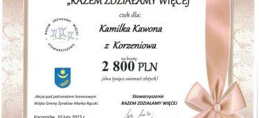 Tym razem Kamilek Kawon z Korzeniowa
